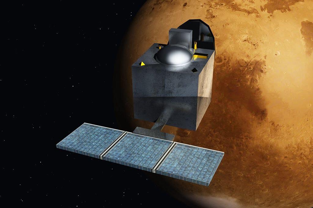 Artist's rendering of the MOM orbiting Mars.